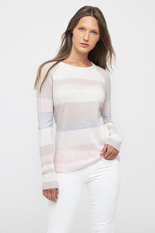 Kinross Cashmere Multi-Stripe Pullover in Petal LRSC0-109