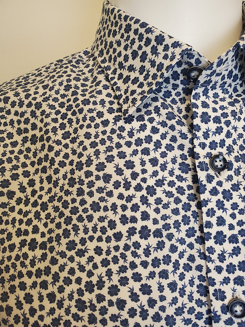 Haupt Blue and White Floral Button Up Shirt 8221