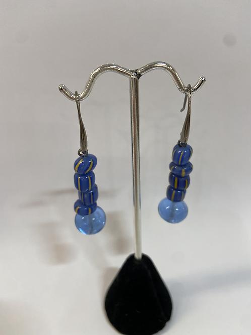 Blue Striped Murano Glass Earrings