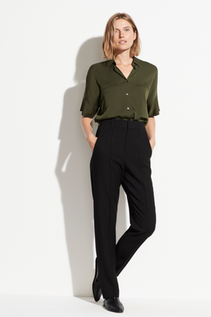 VINCE Pleat Front Flannel Cropped Pant V608721729
