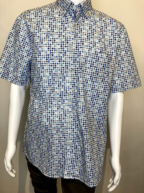 Haupt Modern Fit Short Sleeved shirt in Circle Pattern 9424
