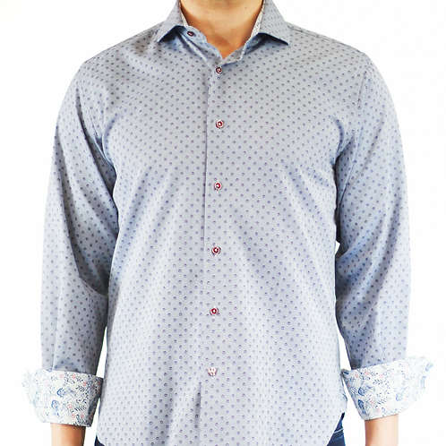 Luchiano Visconti Easy Care Jacquard Button Down in Navy with Red Circles