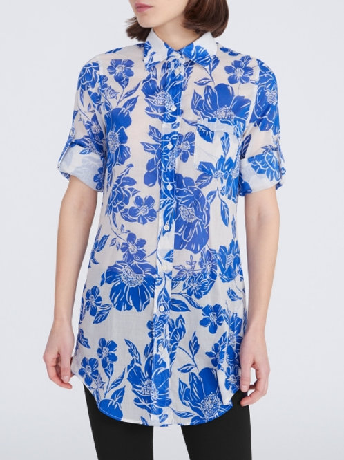 0039 Italy Taya Button Up in Blue Floral - 212143