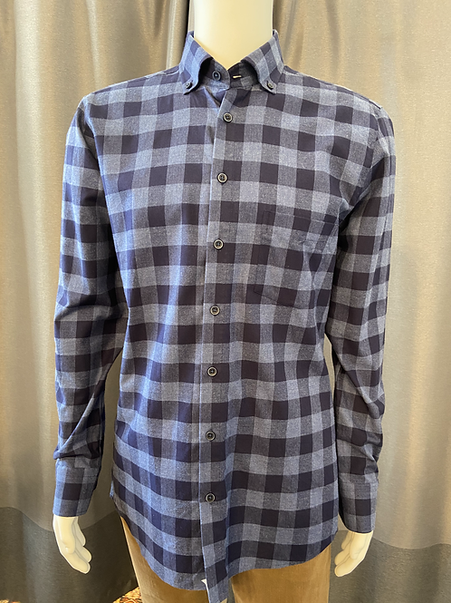 Haupt Grey and Navy Check Flannel 30903