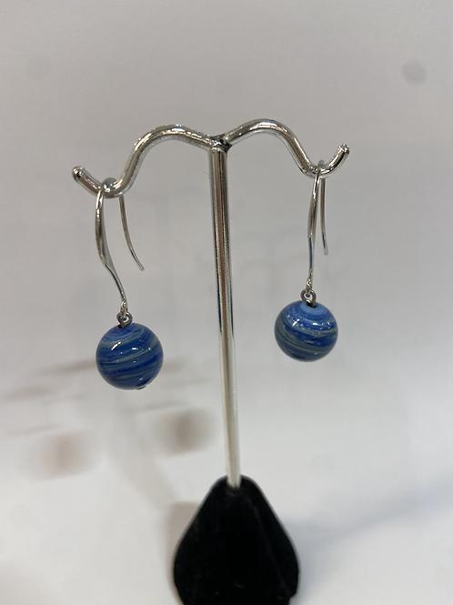 Blue Swirl Murano Glads Earrings