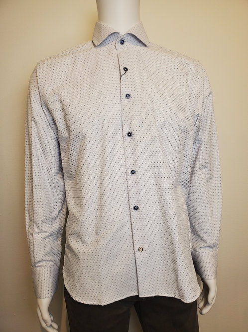 Luchiano Visconti Classic Long Sleeve Button Up Shirt in White/Blue - 4408