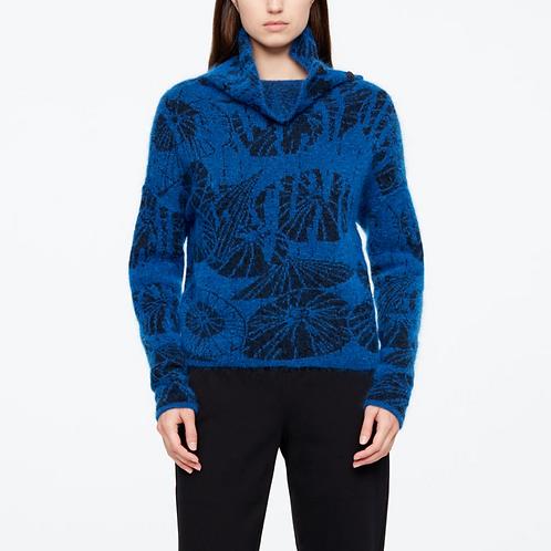 Sarah Pacini Short Sweater Umbrellas in Bright Blue 11157