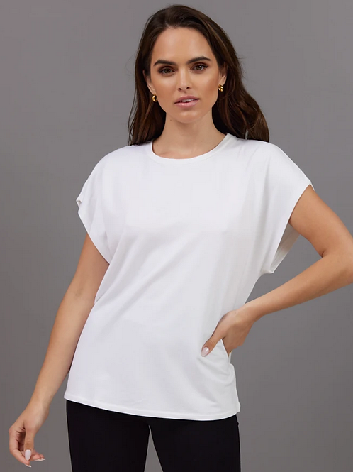 Majestic Filatures French Terry Semi Relaxed Crew Tee in White - M003FTS581