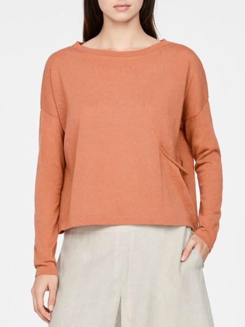 Sarah Pacini Cropped Sweater in Brick - 11072