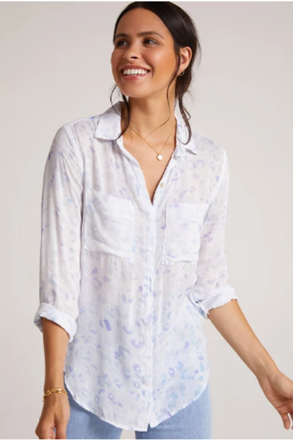 Bella Dahl-Hipster Shirt Iris Painted Leopard