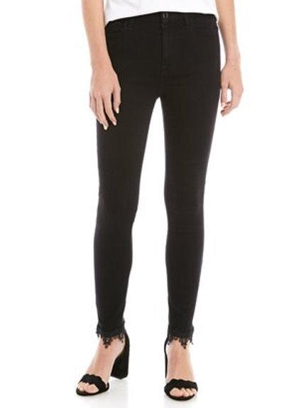 JEN7 Black Ankle Skinny with Lace Hem GS0516930A