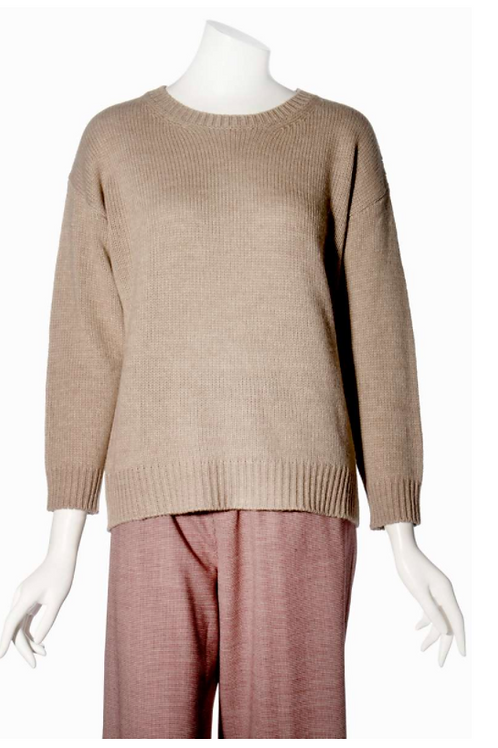 0039 Italy Tara Knit Sweater in Taupe