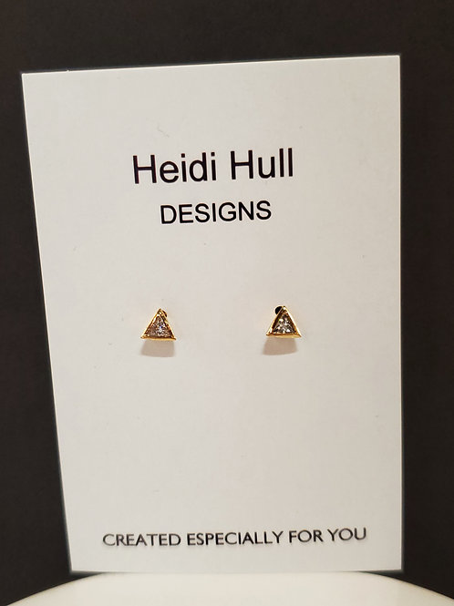 Heidi Hull Designs Triangle Stud Earring with Clear Stone