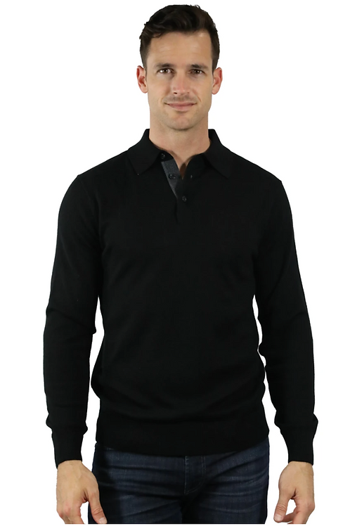Raffi Logan Button Polo in Black HWC19396