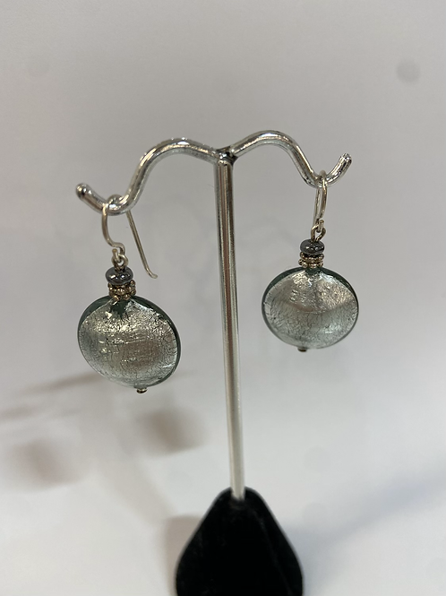 Bright Silver Murano Glass Earrings