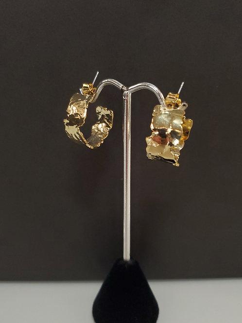 Heidi Hull Designs Petite Gold Hammered wide hoop earrings