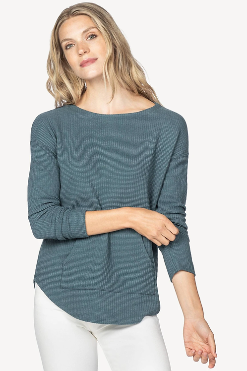 Lilla P Long Sleeve Boatneck Sweater in Ink - PA1092