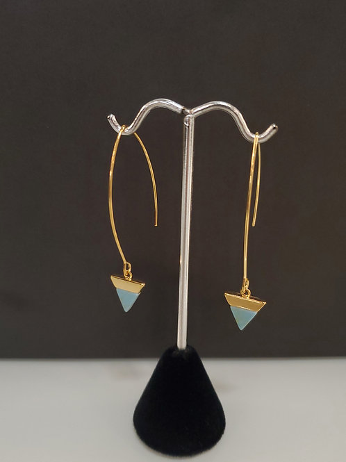 Heidi Hull Designs Gold Dangle Earrings with turquoise triangles