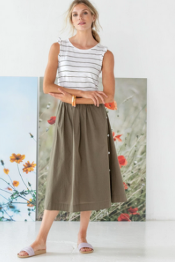 Lilla P Side Button Skirt in Kelp - PA1454