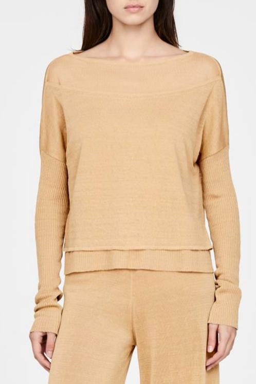 Sarah Pacini Layered Linen Sweater in Honey  - 11067