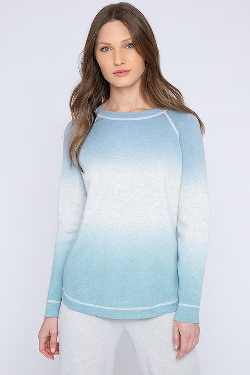 Kinross Cashmere Reversible Ombre Sweatshirt in Haze