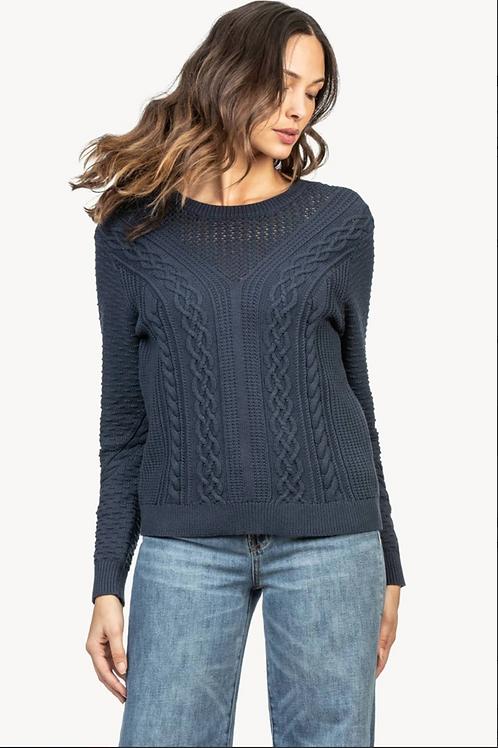Lilla P Mixed Stitch Sweater in Navy PA1224