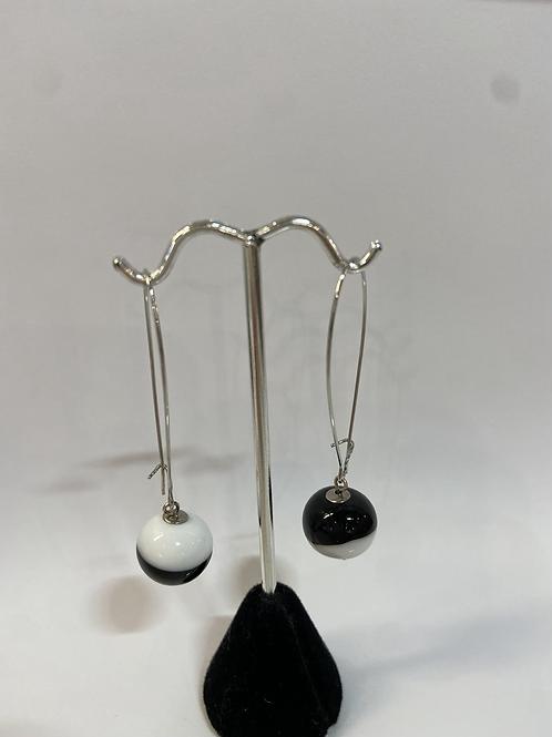 Black + White Murano Glass Earrings