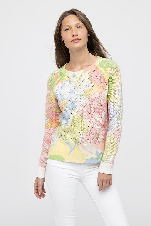 Kinross Cashmere Pullover Sweater in Bouquet LRSC0-113