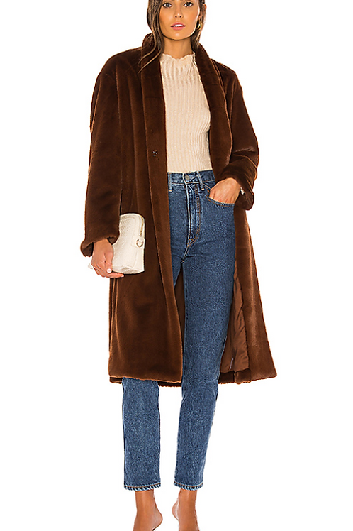 Vince Belted Faux Fur Long Coat V604991192