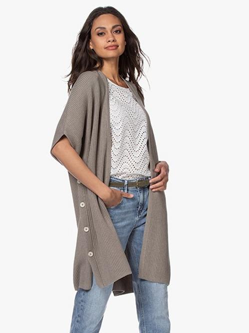 REPEAT Open Short Sleeve Cardigan in Khaki 400311