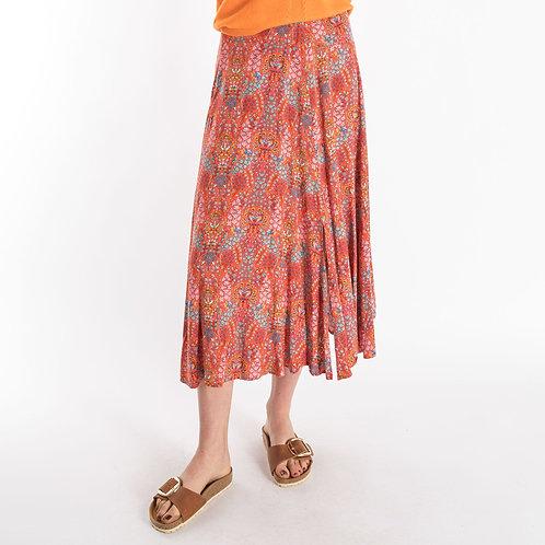 0039 Italy Tiny Flower Skirt in Orange