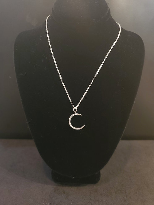 Heidi Hull Designs Silver Moon Necklace with gems