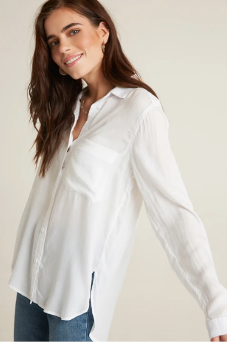 Bella Dahl B4651-691-302 Round Hem Button Down in White