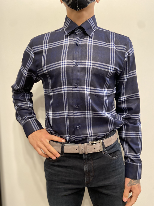 Haupt Navy and White Check Flannel 30708