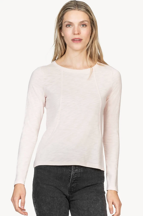 Lilla P Long Sleeve Seamed Tee in Petal - PA1305