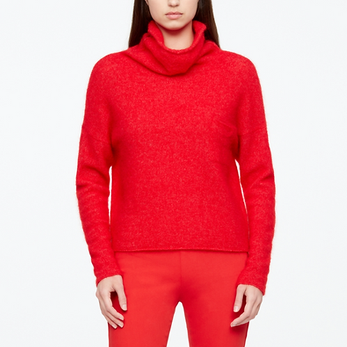 Sarah Pacini Red Mohair Funnel Neck Sweater