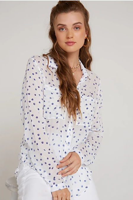 Bella Dahl Hispter Shirt in Painted Dots in White