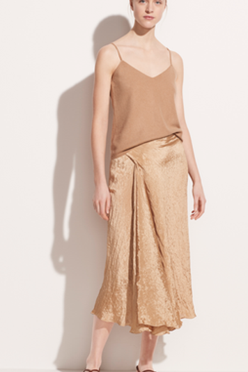 Vince Textured Drape Skirt in Sun Khaki