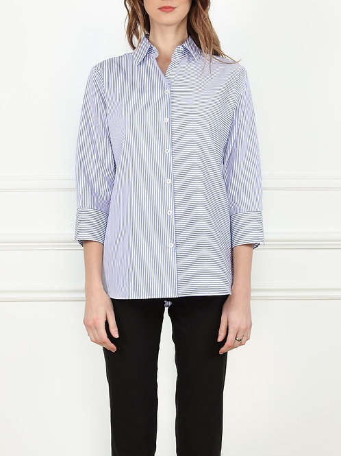 Hinson Wu 3/4 sleeve Margot Relax Fit Shirt in Blue and White