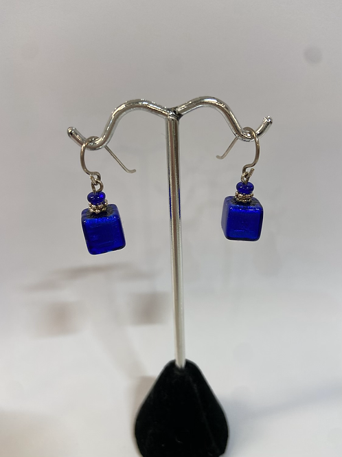 Square Blue Murano Glass Earrings