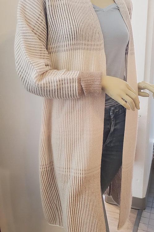 Kinross Cashmere Plaited Stripe Cardigan in Birch LRSC0-108