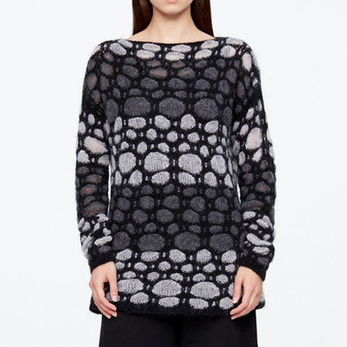 Sarah Pacini Black and White Mohair/Wool Sweater 11122