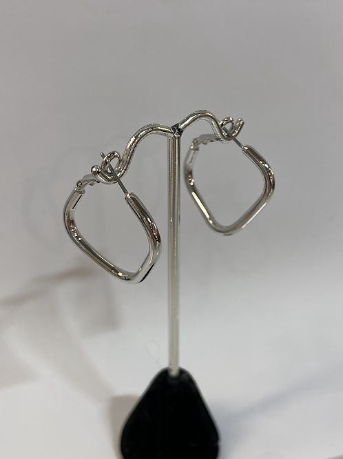 Rectangular Silver Hoops