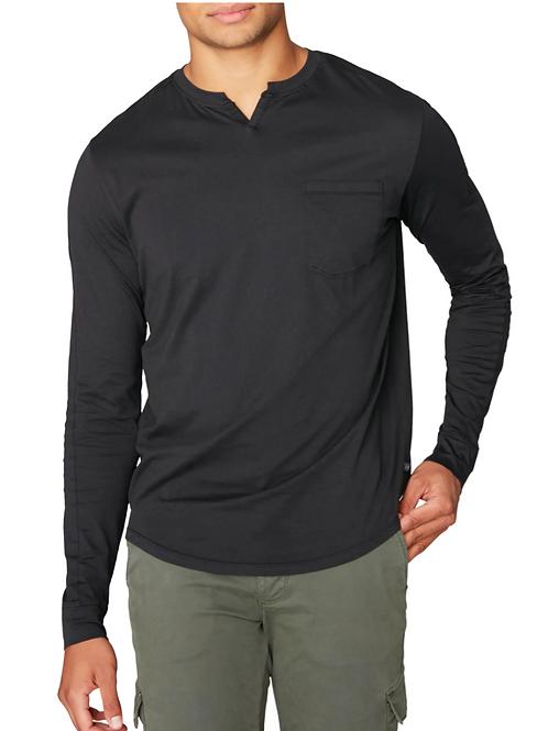Good Man Victory V-Notch Long Sleeve Pocket in Black G344-2