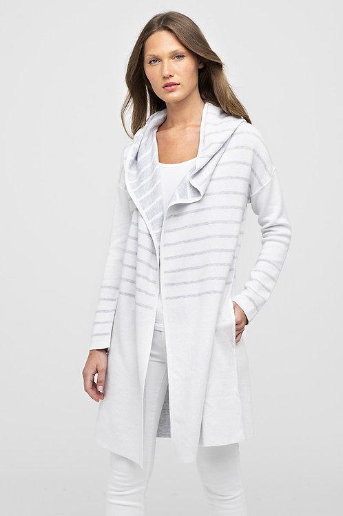 Kinross Reversible Stripe Hoodie in White/Gris - LRSD0-189