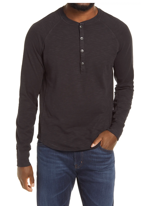 Goodman Legend Slub Henley in Black G36-11