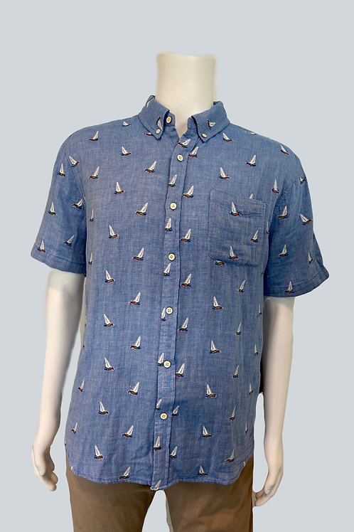 Sailboat Blue Button Up