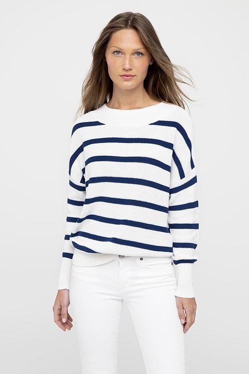 Kinross Cashmere Rib Stripe Pullover LRSG0-181