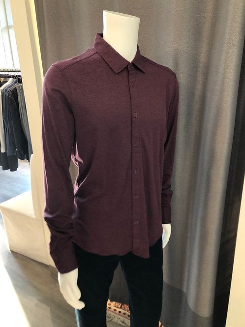 Raffi Long Sleeve Button Front Polo in Wineberry RW12450
