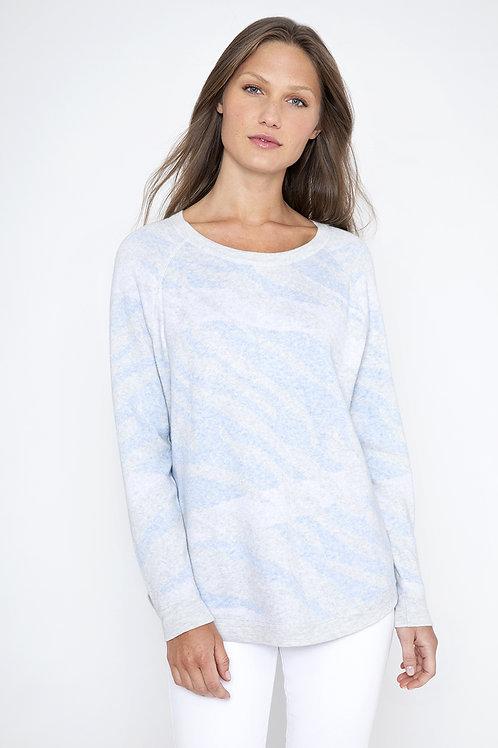 Kinross Cashmere Reversible Wave Sweatshirt in Cloud - LSSD1-097